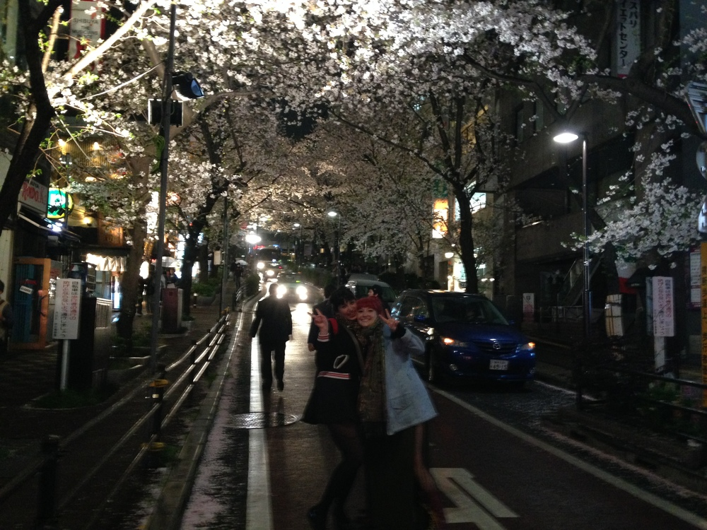 We had to take this pic fairly quickly under a corridor of cherry blossoms in Shibuya.