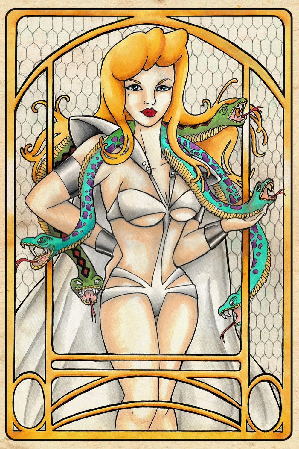 Art Nouveau Inspired Temptress  |  Ink, Marker