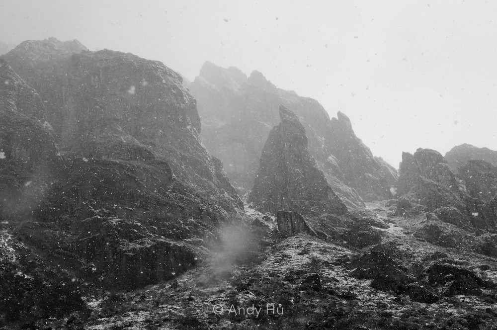 Jagged stone in blizzard, Mt. Gongga Trek