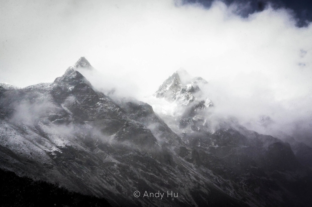 Mountains veiled by clouds, Mt. Gongga Trek