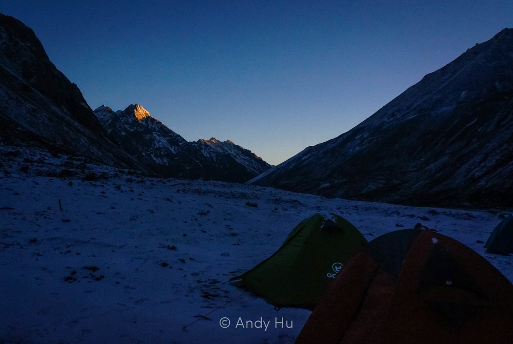 Sunset over Lower Riwoche campsite, day 1 Mt. Gongga Trek