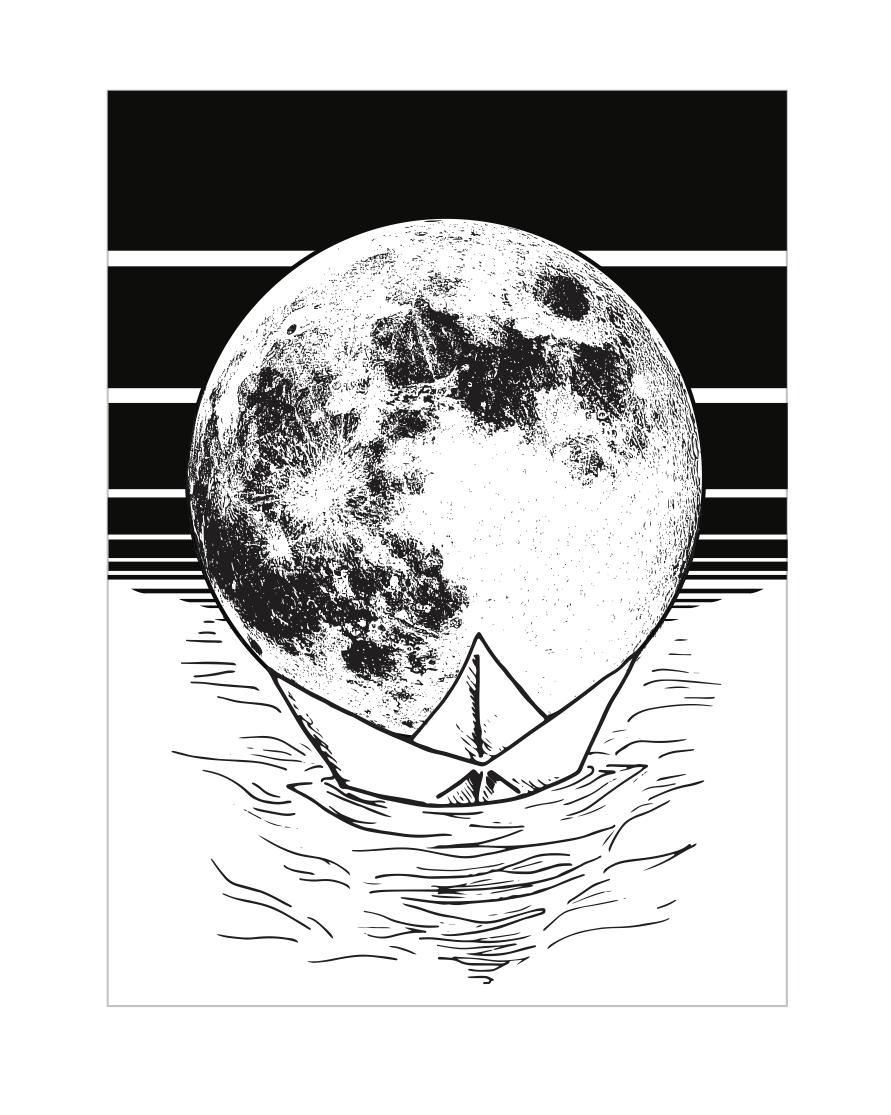 Moon Series_Origami BW boat.jpg