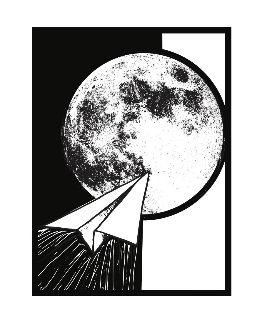 Moon Series_Origami BW crane.jpg