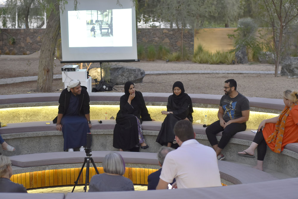 Tashkeel Talk with Saeed Al Madani, Dr. Karima Al Shomaly, Salama Nasib, Khalid Mezaina and moderator Lisa Ball-Lechgar. Image courtesy of Tashkeel.jpg