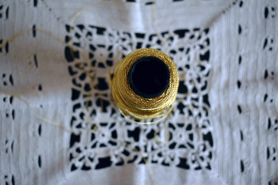 Golden silk from Ioannina, which is very typical and often seen in local embroideries in Epirus. Hand made table cloth by my great- grandmother, Hiette Moissis (formerly Levis)