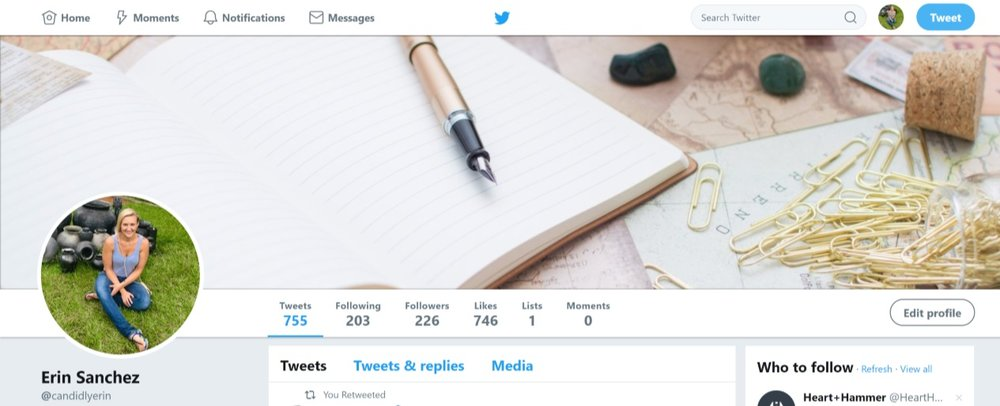 "A branded Twitter banner that immediately ""tells"" people I'm in the business of writing."