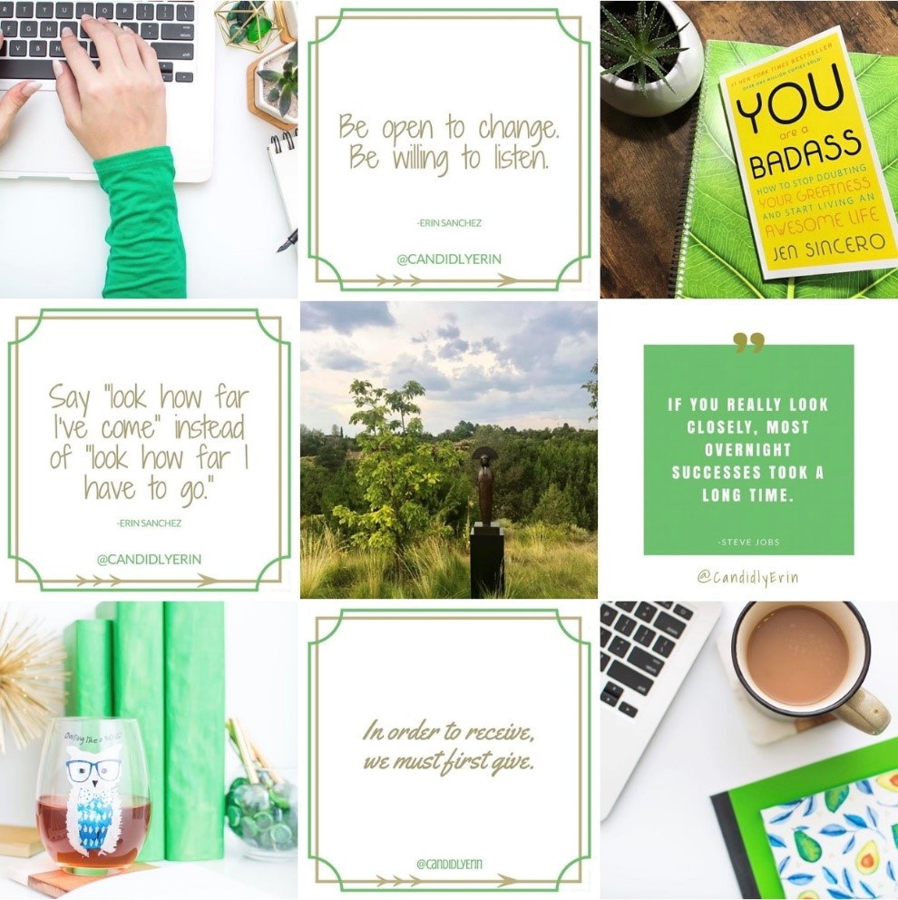 Branded photos create an attractive Instagram gallery (custom stock: top left, bottom left, bottom right).
