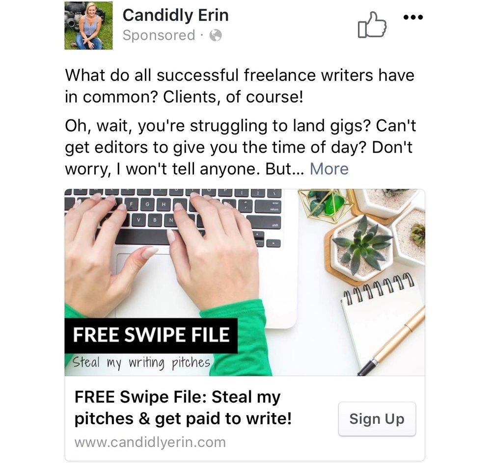 This is a Facebook ad I ran using a branded photo.