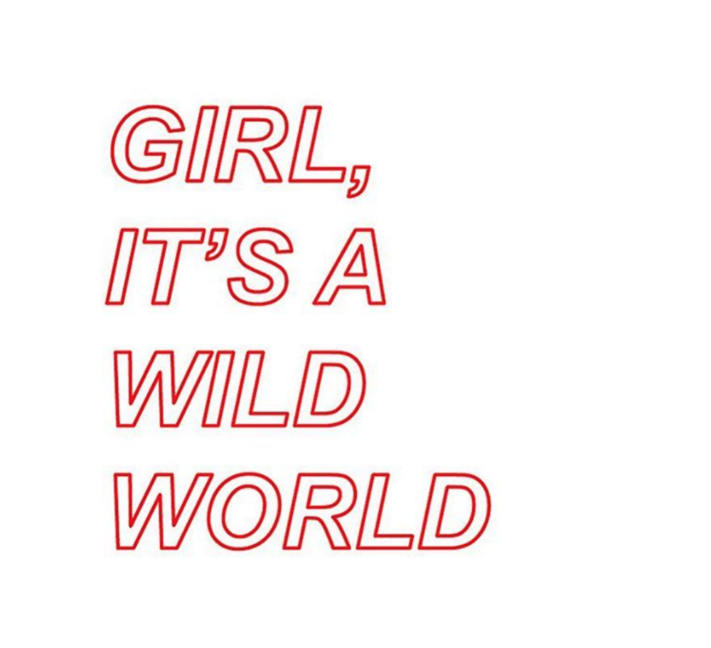 "Part of Rachel Denti's work, ""Girl, It's A Wild World"", for The Blush Room"