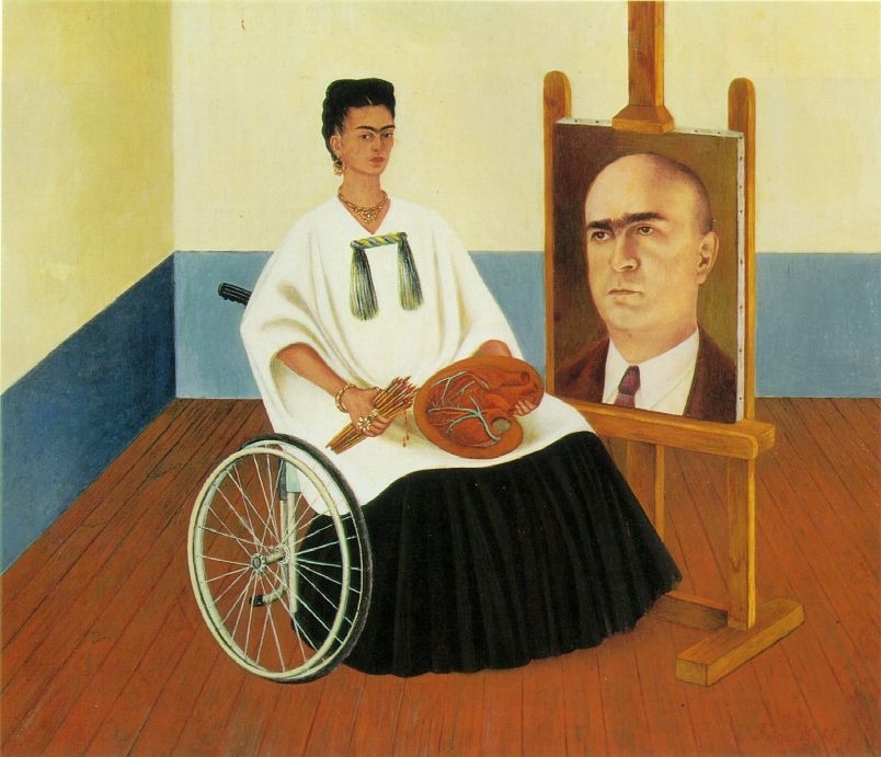 Frida Kahlo: 'Self Portrait with the Portrait of Doctor Farill', 1951