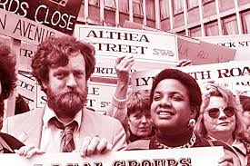 Diane Abbott and Jeremy Corbyn during a demonstration in the 1970s.