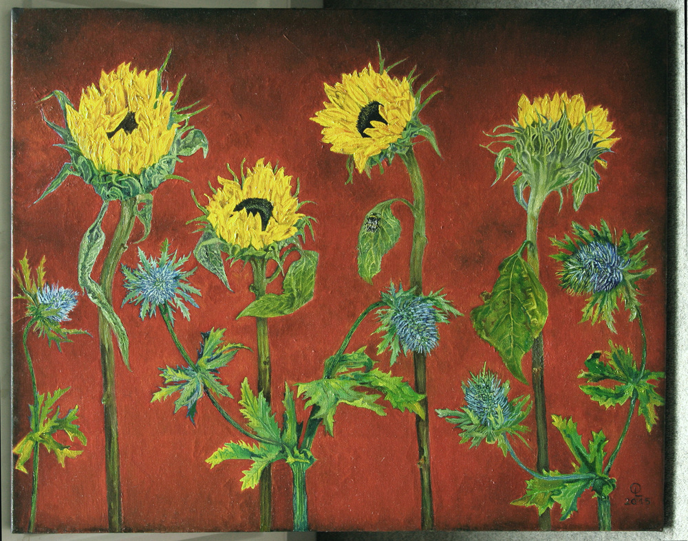 Sunflowers,oil on canvas,76cmx60cm, avaliable for sale