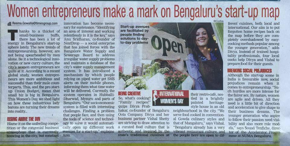 March 2016 Bangalore Times: Women entrepreneurs make a mark on Bengaluru's start-up map