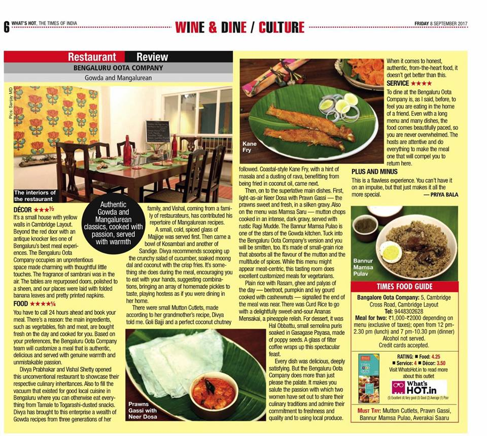 September 2017 The Times of India Food Review
