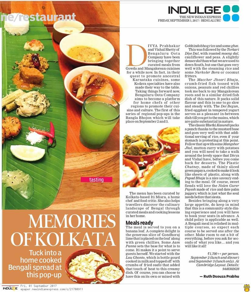 September 2017 The New Indian Express Indulge Memories of Kolkata