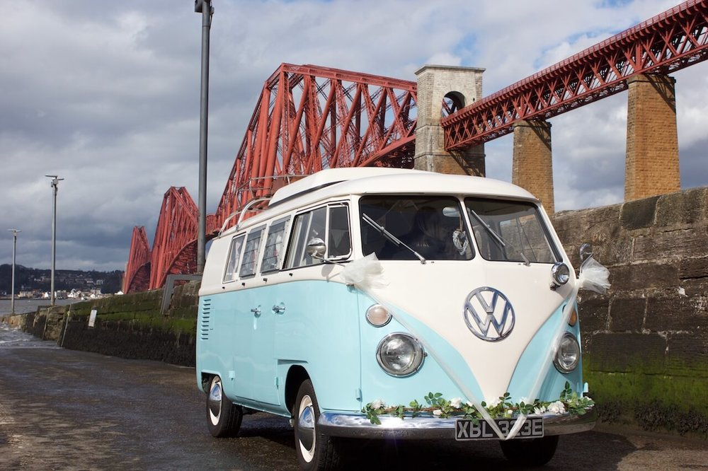 LICKETY SPLIT   The light blue VW splitscreen camper van. Specially designed as a wedding car. Chauffeur driven, Seats 6 passengers, 1 driver.