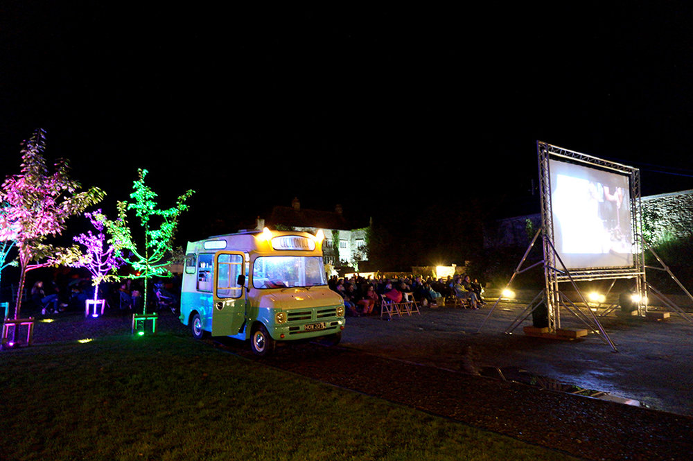 Outdoor open air cinema Grease at Pengenna Manor event venue in Cornwall 03.jpg