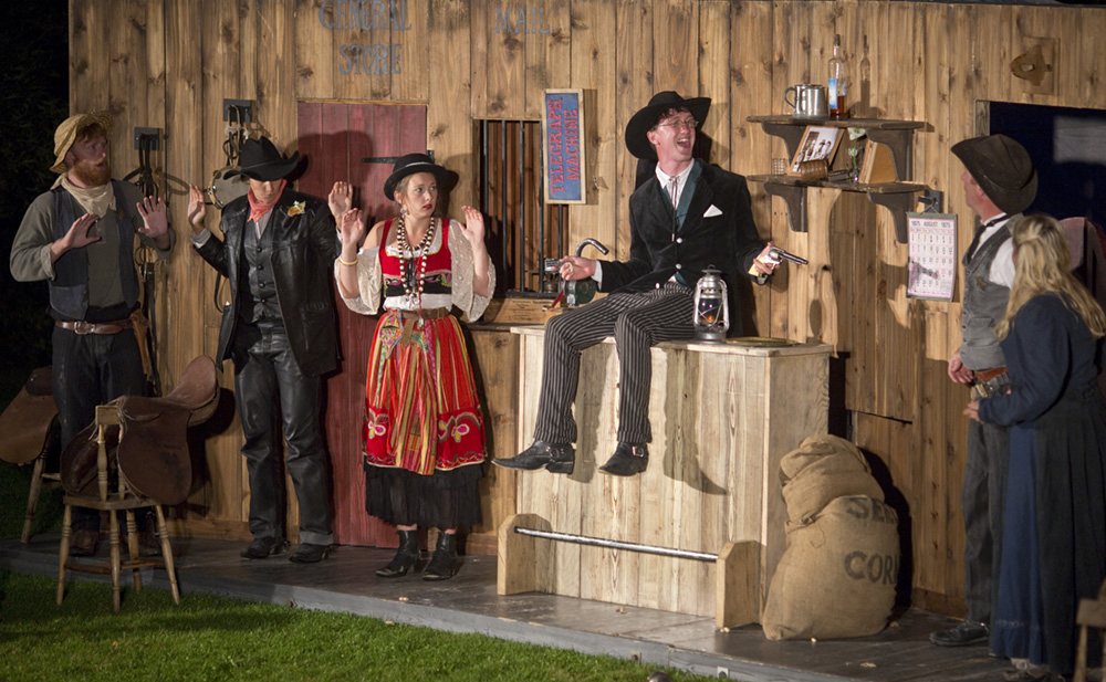 Outdoor open air theatre The Magnificent 3 by Miracle Theatre at Pengenna Manor event venue in Cornwall 02.jpg