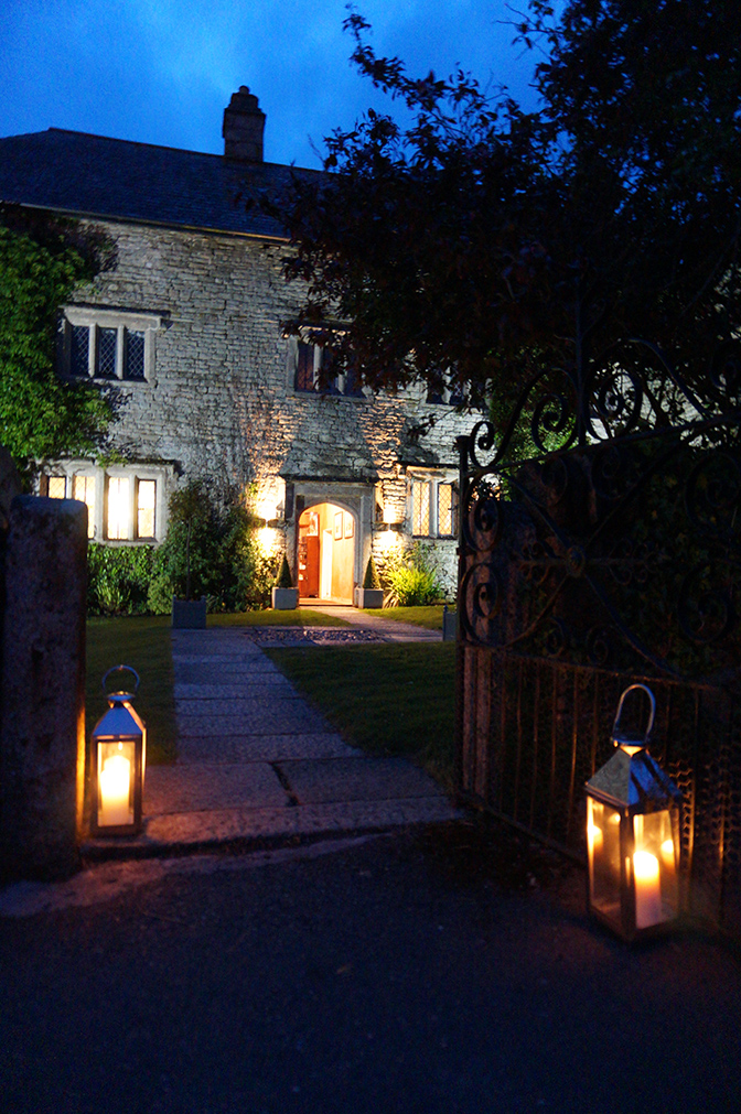 The historic Manor at night at wedding venue Pengenna Manor in Cornwall.jpg