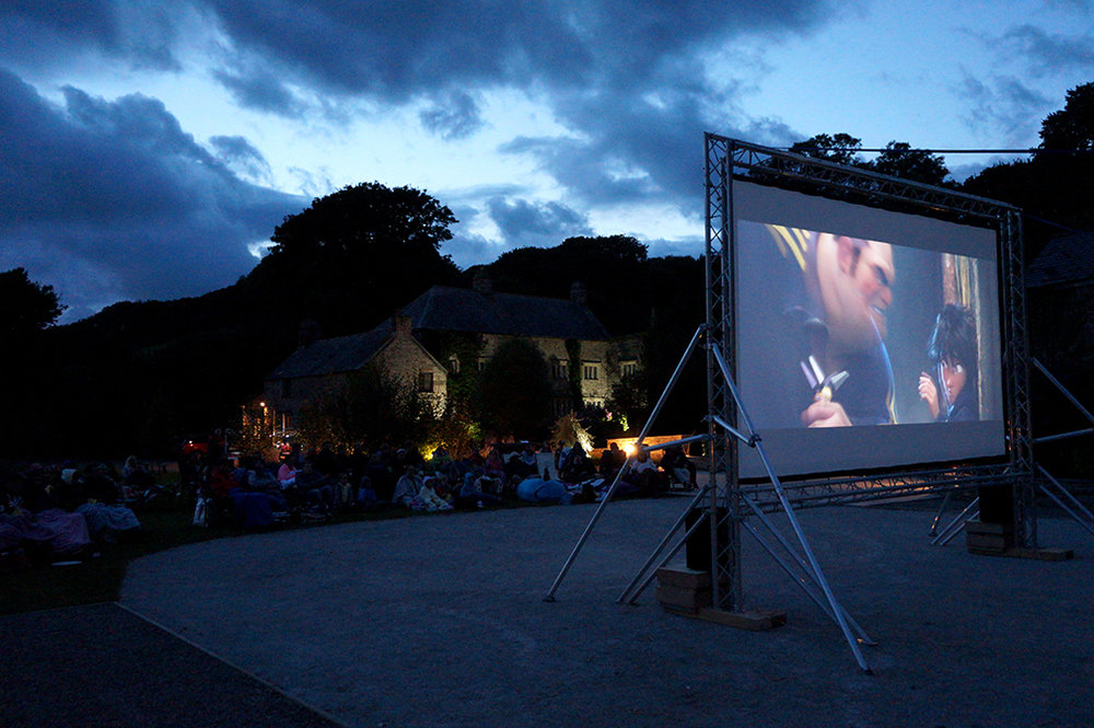Outdoor open air cinema event Big Hero 6 at Pengenna Manor event venue in Cornwall 03.jpg