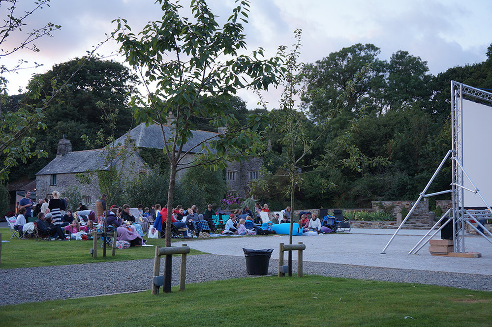 Outdoor open air cinema event Big Hero 6 at Pengenna Manor event venue in Cornwall 05.jpg