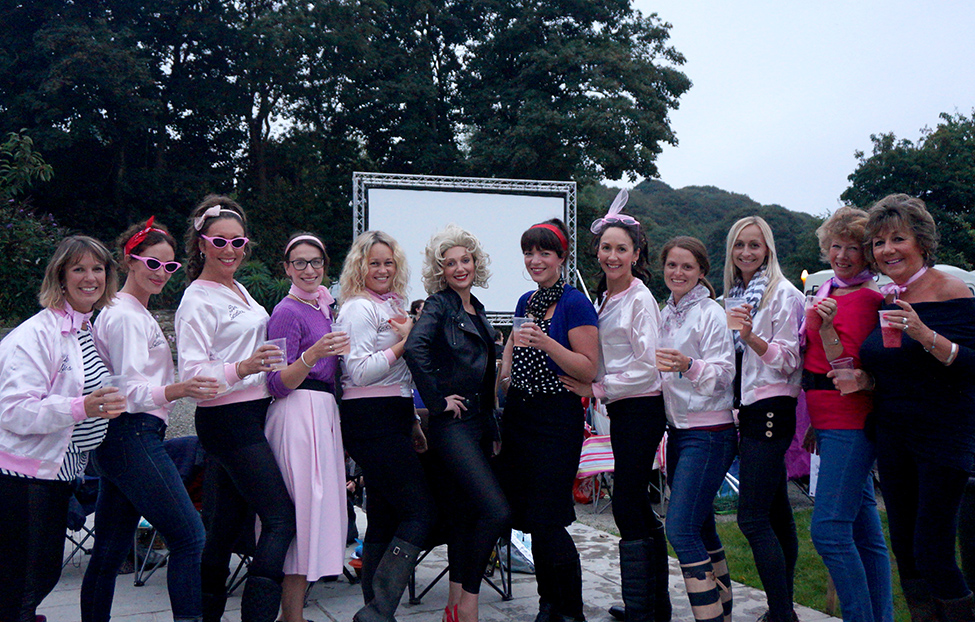 Outdoor open air cinema Grease at Pengenna Manor event venue in Cornwall 01.jpg