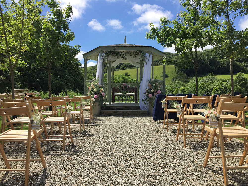 The outdoor wedding ceremony garden at Pengenna Manor Cornwall wedding venue.JPG