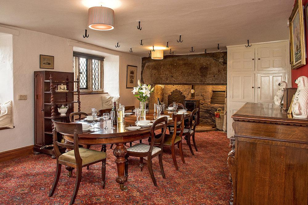 Luxury accommodation at wedding venue Pengenna Manor in Cornwall dining room 02.jpg
