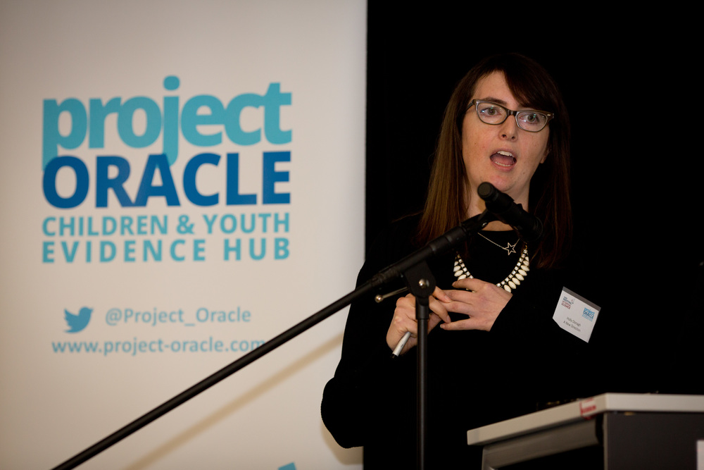 Holly Donagh speaking at the event