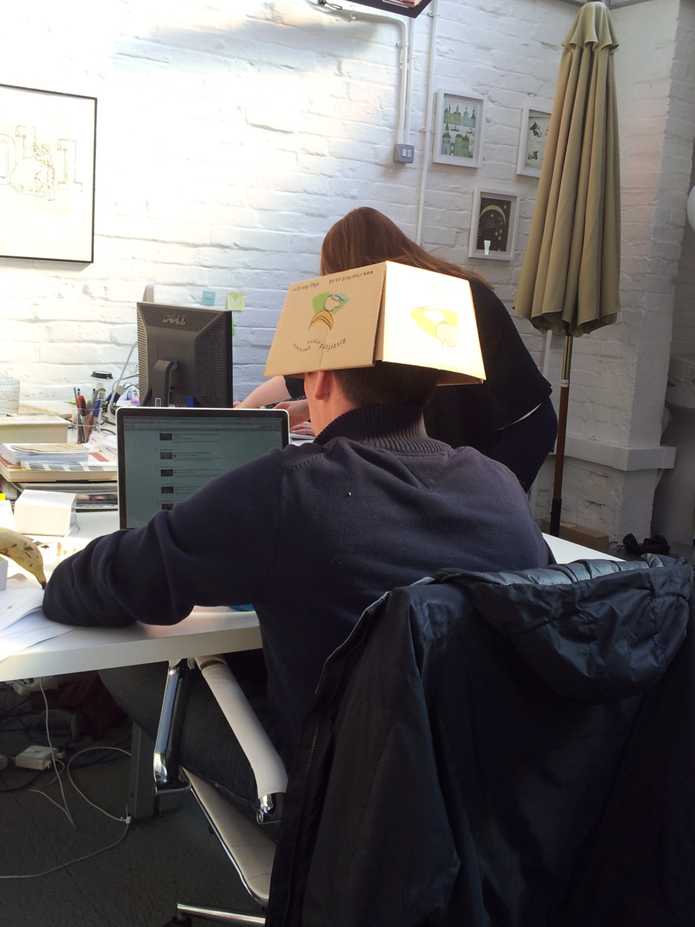 Here Brad demonstrates another use for our weekly fruit deliveries. When it comes to seeing your screen in the sun, sometimes the only answer to a digital problem is an analogue solution…