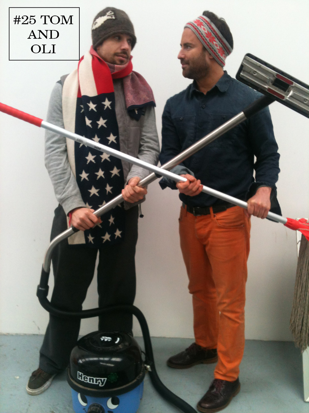 With 2013 in full swing, Tom and Oli thought it was time to clean up their act. Channelling all things Americana the duo pair stars and stripes with denim and casual knitwear for a transatlantic look they dub 'Bruce Springclean and Musty Springfield'. We thought their new years resolution might be to appear on the Fash Off less frequently but this look is undoubtedly a sign of things to come. Ah well, maybe they're just born to pun… Tom Bodywarmer: Wrangler Top: Nike Trousers: Sky Jeans Shoes: Vans Scarf: Stolen Christmas present. Henry: Folk's own Oli Snowboard band: Superdry Blue denim shirt: Flying Horse Jeans* Orange Jeans: Zara Socks: Thomas Pink Mop: Folk's own Purple patent shoes : Ted Baker