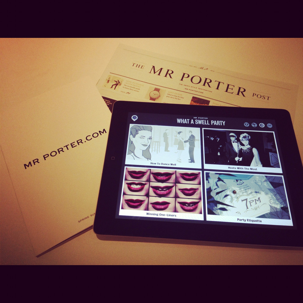 mrporter: Have you had an opportunity to experience the Mr Porter iPad Magazine? Issue One – The Tux is available now, and is your perfect guide to the holiday season.  A brand content creator in action- looks great!