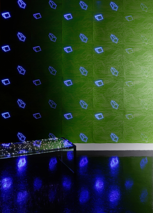 laughingsquid :      Glowing LED Wallpaper      We'd love some of this in the office
