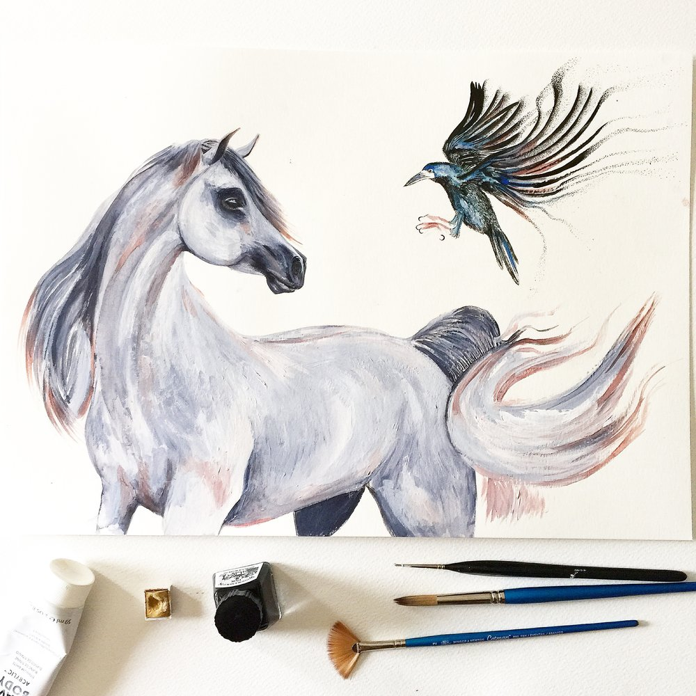 Arabian Horse Art | Watercolour Horse | Horse Art