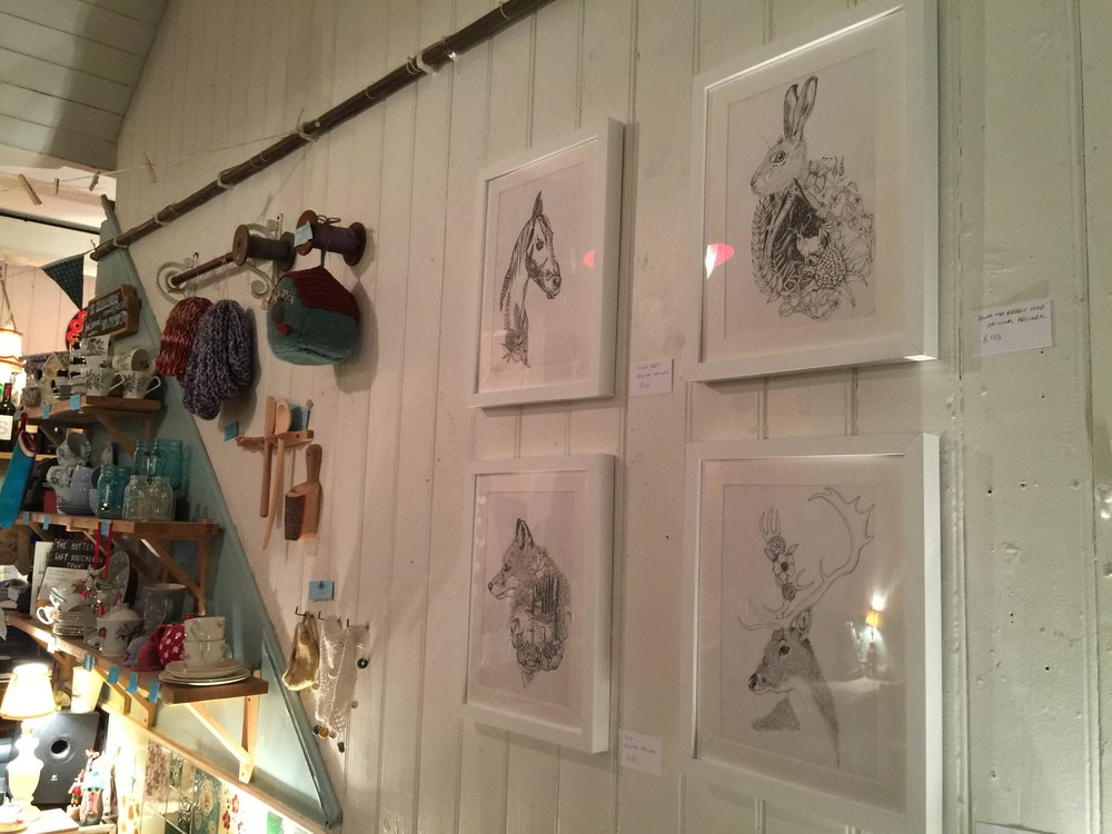 Ink animal drawings at The Haberdashery Exhibition