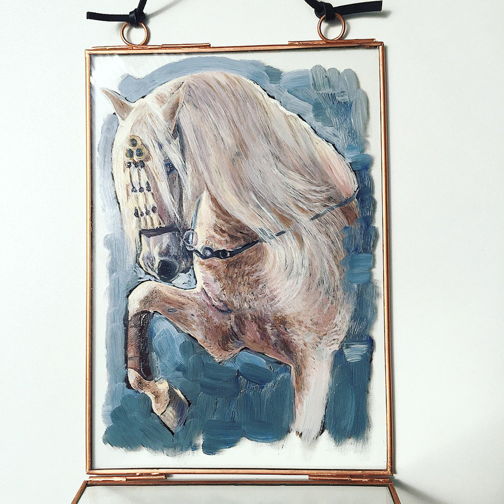 White Horse Painting | Horse Art |Vintage Glass Hanging Frame | Horse Oil Painting