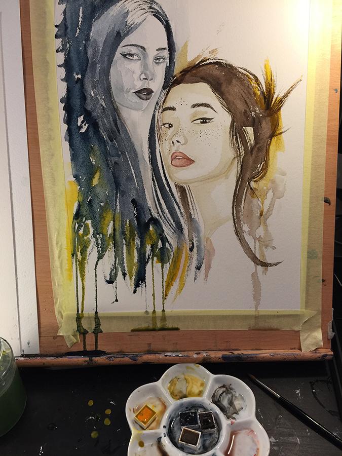 watercolour portrait artist studio