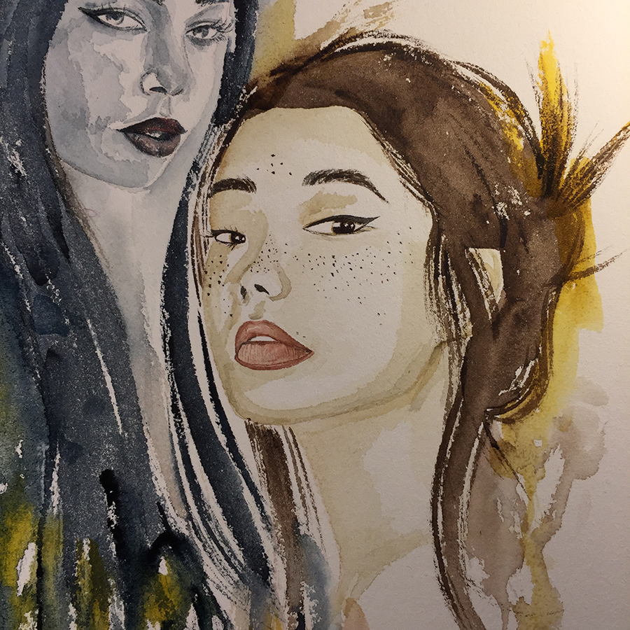 watercolour female portrait