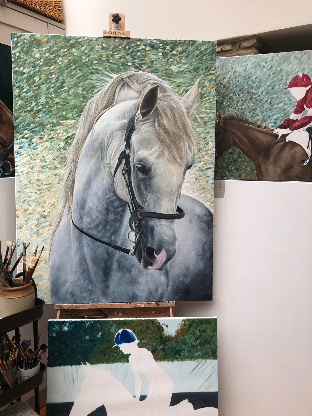 White Horse Painting | Art Commissions | Horse Paintings on Canvas