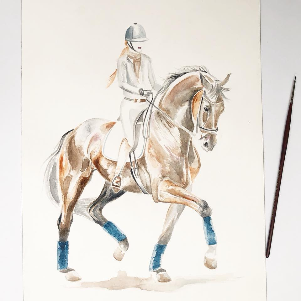 Dressage Rider | Watercolour Art | Equestrian Artwork | Horse Decor