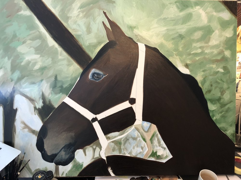Horse Under Tree | Horse Wall Art | Horse Paintings on Canvas