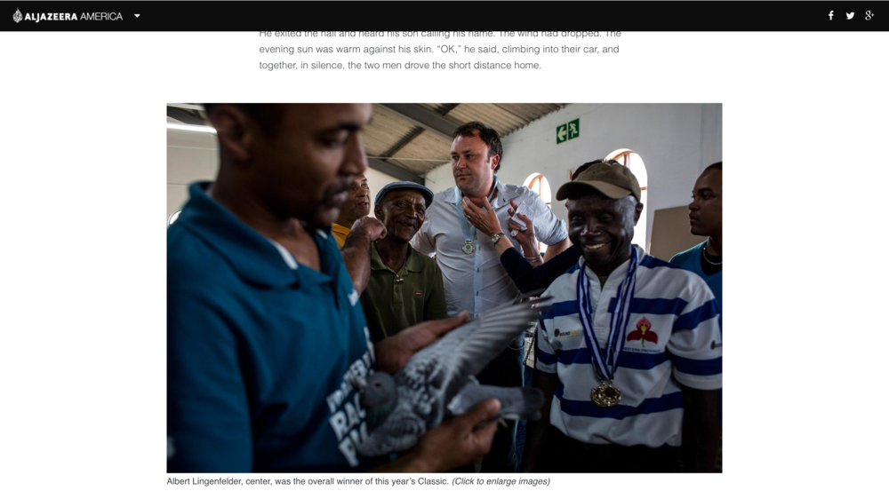 Pigeon Racing in South Africa for Al Jazeera America
