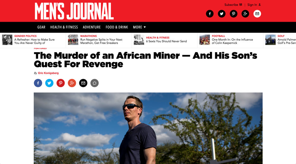 The Murder of an African Miner - And His Son's Quest for Revenge - for Men's Journal