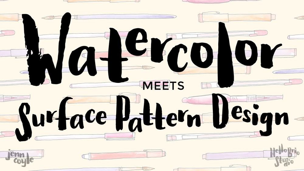Watercolor meets surface pattern design class from HelloBrio