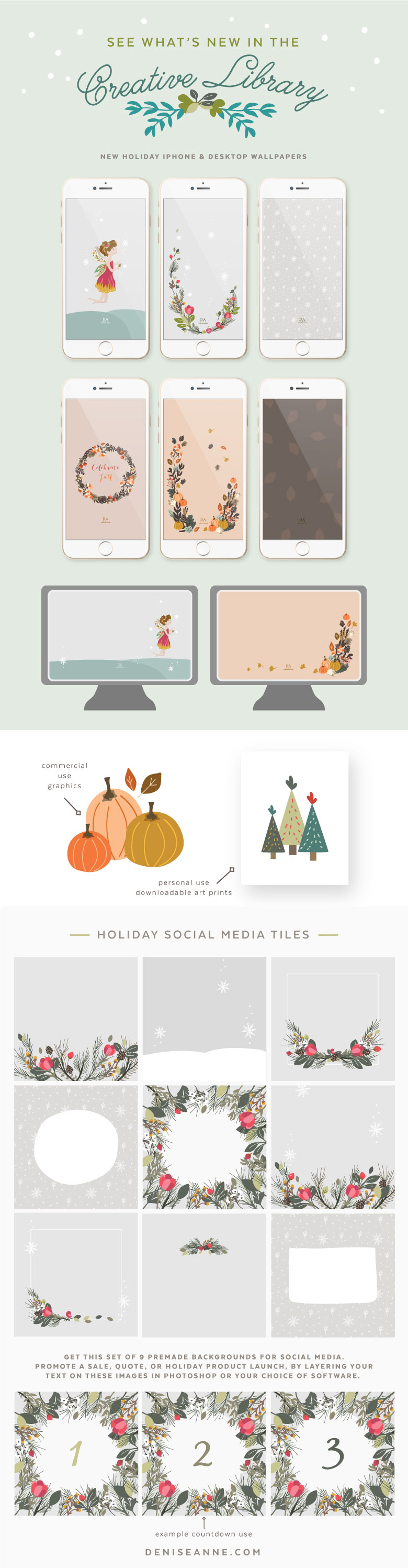 New holiday desktop and iphone wallpapers, art prints,  graphics, and social media images are available free in my creative library.