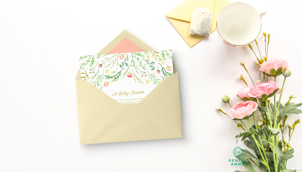 Example use of one of the backgrounds in this set with a Sweetly Southern invitation frame design mockup. In this image, I used Black Pattern's stationery mockup kit (the envelope and card shown), which you can get from Creative Market link below.