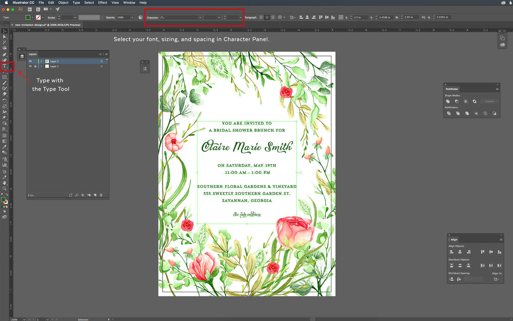 design-invitation-illustrator-tutorial-align-wording