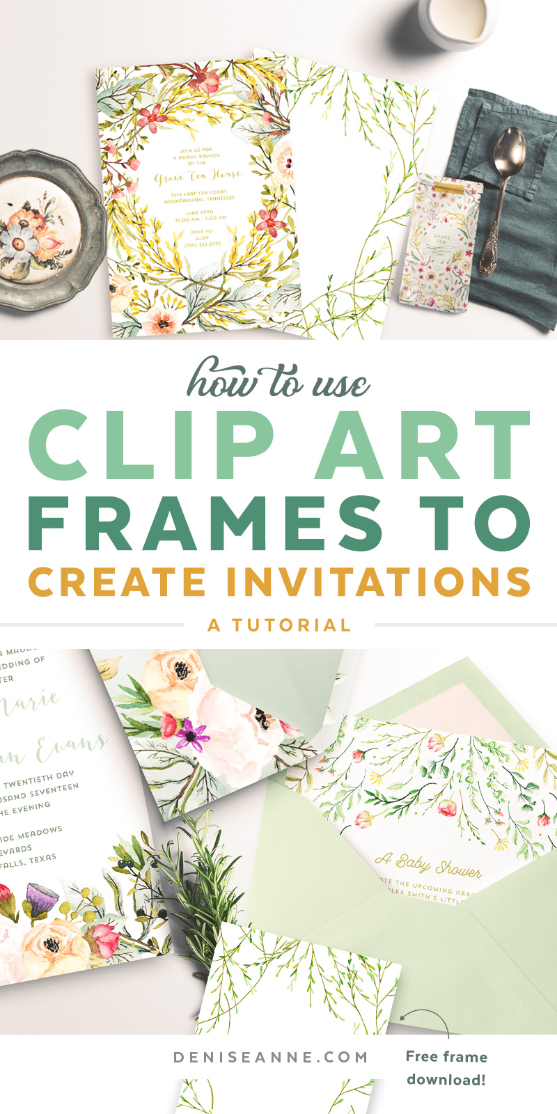 Follow this tutorial on how to use clip art frames to create invitations, and add wording to them in Illustrator. Plus, get a free watercolor graphics frame to try out the tutorial!