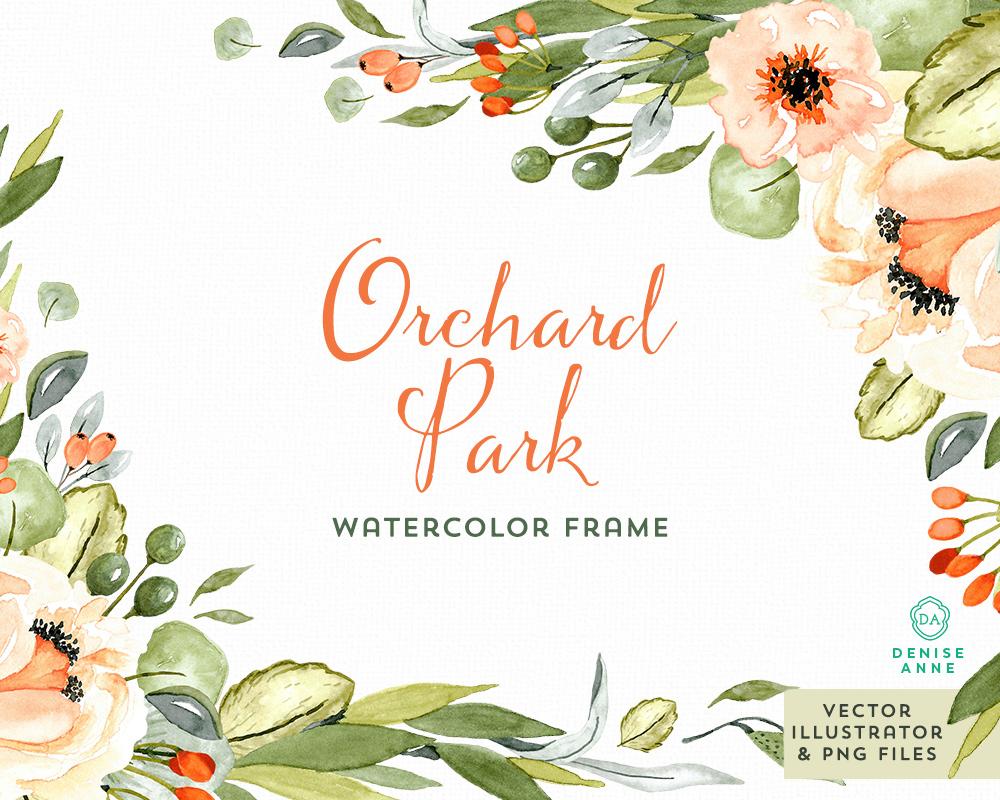 Orchard Park Watercolor Floral Frame Set — Denise Anne