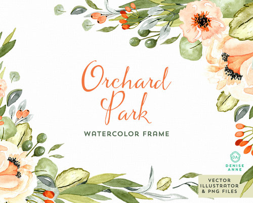 Orchard Park Watercolor Floral Frame Set — Denise Anne